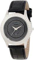 Akribos XXIV Women's AKR464BK Brillianaire Diamond Black Swiss Quartz Strap Watch