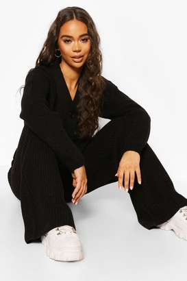 boohoo Knitted Button Through Wide Leg Cardigan Set