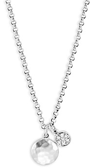 John Hardy Sterling Silver Dot Diamond Cluster & Hammered Disc Pendant Necklace, 16-18