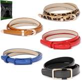 BMC Womens 5pc Mix Color Faux Leather Fashion Statement Skinny Belt Bundle-Set 3