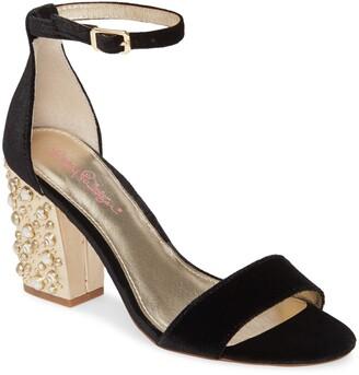 Lilly Pulitzer Amber Lynn Embellished Heel Velvet Sandal