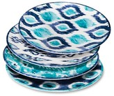 Mudhut Blue Ikat Melamine Dinner Plates - Set of 4