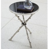 The Well Appointed House Global Views Twig Design Accent Table in Nickel with Black Marble Top
