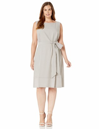 Anne Klein Women's Size Plus Seersucker FIT & Flare Dress