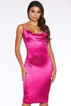 Quiz Pink Cowl Neck Bodycon Midi Dress