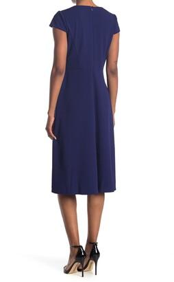 Maggy London Cap Sleeve Midi Dress