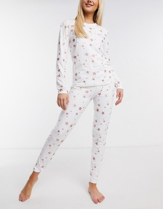 Loungeable super soft legging pajama set with glitter star print in cream