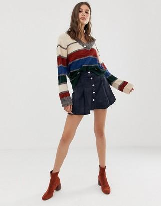 Raga Tara faux suede button down skirt