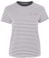 Tee & cake 'je'maime' embroidered stripe t-shirt