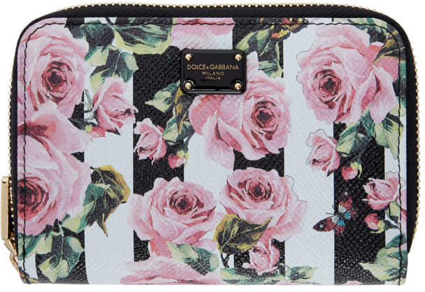 Dolce & Gabbana Black Stripes and Flowers Compact Wallet