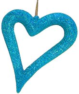 Kurt Adler Jazzy Blue Glitter Asymmetrical Heart Christmas Ornament