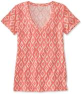 L.L. Bean L.L.Bean West End Fitted Tee, Short-Sleeve V-Neck Ikat Print
