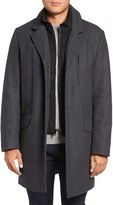 Andrew Marc Men's Truro Inset Bib Pressed Wool Blend Topcoat