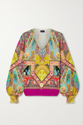 Etro Printed Silk-blend Sweater - Yellow