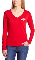 Lee Cooper women GLORIA T-Shirt plain or unicolor V-Neck short sleeve - red - {pre::color_name}} -