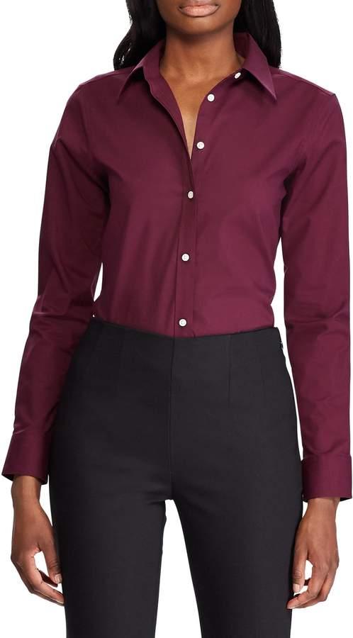 Chaps Petite Straight-Fit Cotton Button-Down Shirt