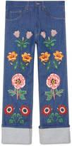 Gucci Jean with flower appliqués