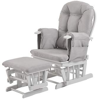Kub Haywood Reclining Glider Nursing Chair and Footstool, Grey