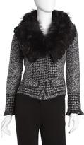 Neiman Marcus Raccoon-Collar Peplum Jacket, Gray