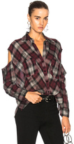 Enza Costa Boxy Top in Checkered & Plaid,Gray,Red.