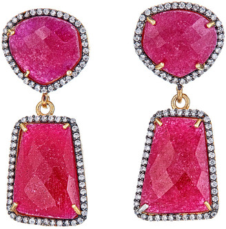 Forever Creations Usa Inc. Forever Creations 18K Over Silver 40.00 Ct. Tw. Ruby Drop Earrings