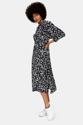 Topshop Womens Black And White Print Midi Shirt Dress - Monochrome