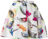 Kenzo Visage eye print mini skirt - women - Silk/Linen/Flax/Polyester - 36