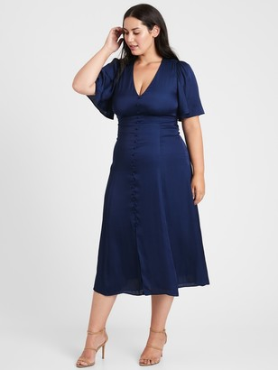 Banana Republic Satin Flutter-Sleeve Midi Dress