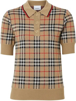 Burberry Icon Check Wool Polo Shirt