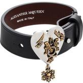 Alexander McQueen Metal Heart Lth Cuff