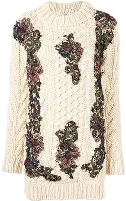 Antonio Marras floral-appliquéd chunky-knit jumper