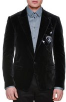 Dolce & Gabbana Rose-Embroidered Two-Button Velvet Jacket, Charcoal