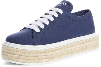 Prada Raffia Platform Sneaker
