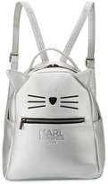 Karl Lagerfeld Metallic Faux-Leather Choupette Backpack, Silver