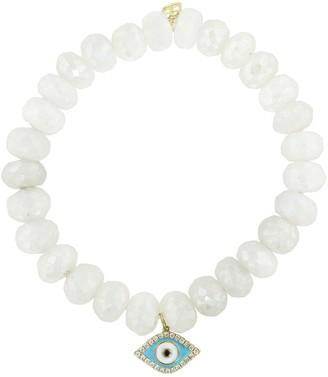 Sydney Evan Turquoise Evil Eye On Pearl Chalcedony Beaded Bracelet