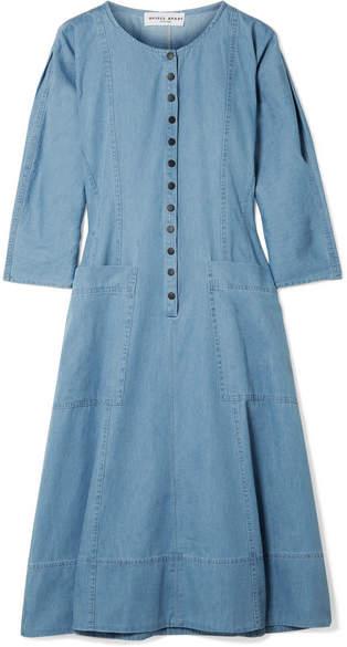 Apiece Apart Fernwood Cotton-chambray Midi Dress - Blue