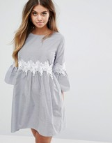 Boohoo Crochet Waist Pinstripe Smock Dress