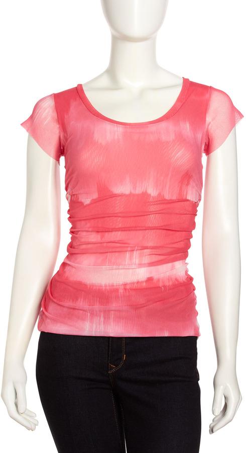 Sweet Pea Shirred Tie-Dye Mesh Tee, Kaluga Pink