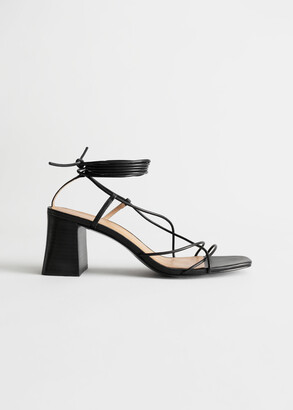 And other stories Leather Strappy Lace Up Heeled Sandals