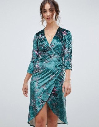 Hope & Ivy long sleeve wrap front velvet midi dress in bird print