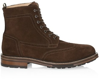 Alfred Dunhill Country Brogue Suede Lace-Up Boots