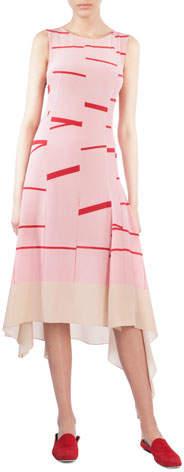 Akris Sleeveless Broken Stripe Midi Dress