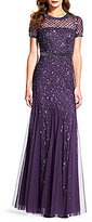 Adrianna Papell Beaded Short Sleeve Gown