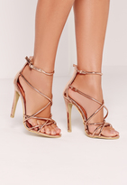 Missguided Strappy Barely There Heeled Sandals Rose Gold
