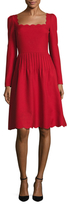 Valentino Wool Scalloped Fit And Flare Dress