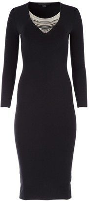 Alexander Wang Chain Trim V-Neck Fitted Dress