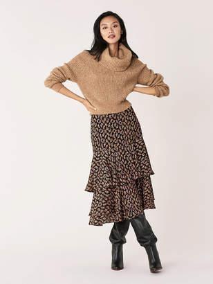 Diane von Furstenberg Meg Silk-Metallic Tiered Midi Skirt