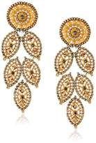 Miguel Ases Misty Created Topaz and Swarovski Cascading Leaf Drop Earrings