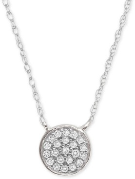 """Elsie May Diamond Accent Button Pendant Necklace in Sterling Silver, 15"""" + 1"""" extender, Created for Macy's"""