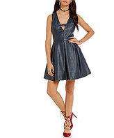 J.o.a. Sleeveless V-Neck Vegan Leather Dress